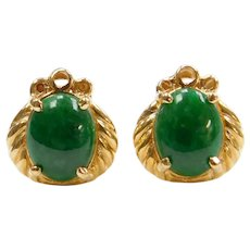14k Gold Green Jade Stud Earrings