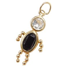 Vintage 14k Gold January Birthstone Boy Charm ~ Faux Diamond, Faux Garnet