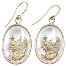 Victorian 14k Gold Japanese Damascene Earrings