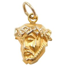 14k Gold Small Religious Jesus Charm