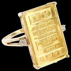 Vintage 14k & Fine 24k Gold Johnson Matthey 1 Gram Bar Ring with Diamond Accents