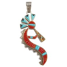 Native American Signed Reversible Kokopelli Pendant Sterling Silver Coral, Turquoise, Onyx, Jasper, Mother of Pearl ~ And Earrings