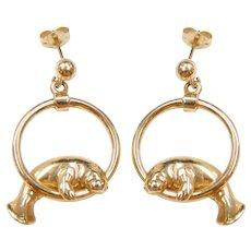 Kabana Designer 14k Gold Smiling Happy Manatee Sea Cow Circle Dangle Earrings