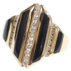 Kabana Onyx and .35 ctw Diamond Ring 14k Gold