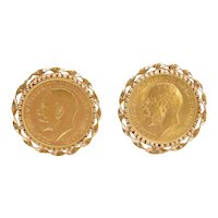 22k Gold Sovereign King George Great Britain Coin Cufflinks 14k Gold