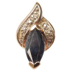 Natural Sapphire and Diamond 1.16 ctw Two-Tone Pendant Sterling Silver and Gold Vermeil