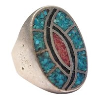 Big Vintage South-West Gents Ring Sterling Silver Turquoise and Red Coral Chip Inlay with Green Enamel