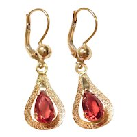 Vintage Faux Ruby 4.36 ctw Dangle Earrings 14k Gold With Lever Backs