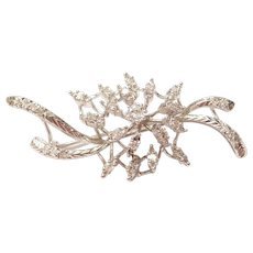 Retro Diamond .98 ctw Spray Pin / Brooch Platinum