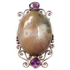 Large Hand Crafted Agate and Amethyst Pendant Sterling Silver