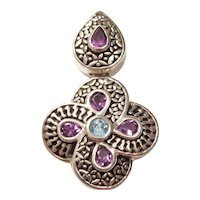 Blue Topaz and Amethyst 1.80 ctw Pendant Sterling Silver