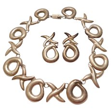 Big STATEMENT Set Sterling Silver Hug & Kiss XO Necklace & Earrings