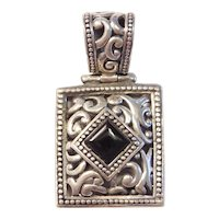 Ornate Black Onyx Pendant Sterling Silver