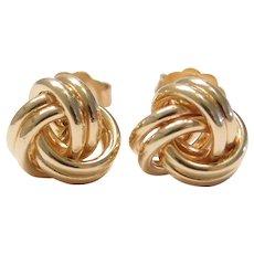Love Knot Stud Earrings 14k Gold