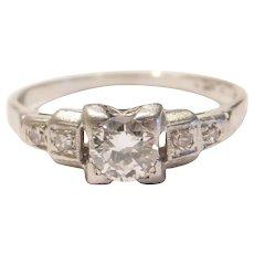 Art Deco .44 ctw Diamond Engagement Ring Platinum