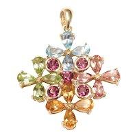 Colorful Gemstone Tourmaline, Blue Topaz, Citrine and Peridot 4.40 ctw Pendant 10k Gold