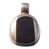 Black Onyx Inlay Pendant Sterling Silver Mexico