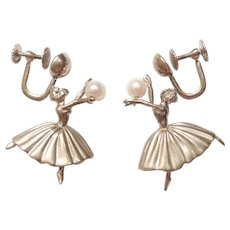 Vintage Cultured Pearl Ballerina Dancer Screw On Dangle Earrings Sterling Silver by Wells