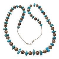 Vintage Long Turquoise and Carved Rose Bead Necklace Sterling Silver