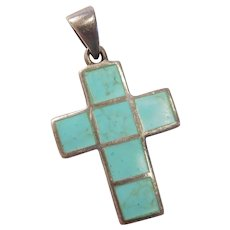 Vintage Turquoise Inlay Cross Pendant Sterling Silver