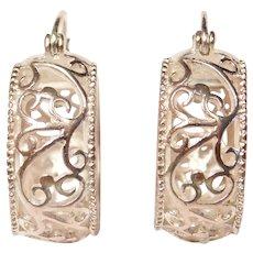 Wide Ornate Filigree Hoop Earrings Sterling Silver
