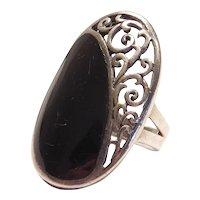 Ornate Black Onyx Ring Sterling Silver