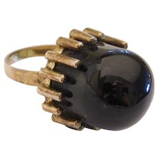 Mid-Century Modern Black Spinel Ring Silver with Gold Vermeil