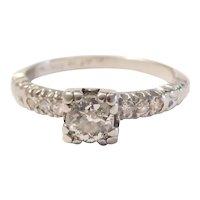 Art Deco Diamond .52 ctw Engagement Ring Platinum