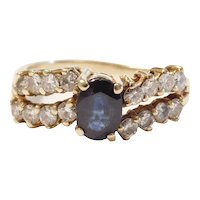 Natural Sapphire and Diamond 1.74 ctw Ring 14k Gold