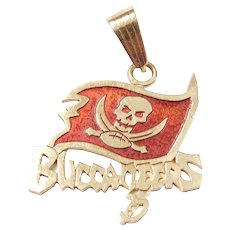 NFL Buccaneers Football Red Enamel Flag Charm / Pendant 10k Gold