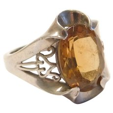 Vintage Citrine 5.13 Carat Ring Sterling Silver