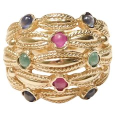 Natural Ruby, Sapphire and Emerald 1.40 ctw Dome Ring 14k Gold