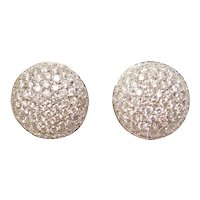 Diamond 3.06 ctw Encrusted Pave Button Stud Earrings with Omega Backs 18k White Gold
