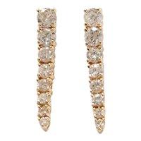 Diamond 1.00 ctw Graduated Line Dangle Earrings 14k Gold