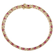 Natural Ruby and Diamond 4.38 ctw Tennis Bracelet 14k Gold