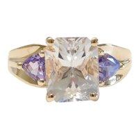 Goshenite and Tanzanite 5.49 ctw Three Stone Ring 14k Gold
