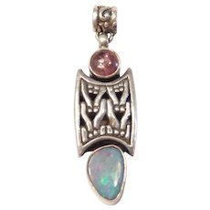 Natural Opal and Amethyst Pendant Sterling Silver