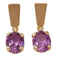 Vintage Created Alexandrite 7.20 ctw Dangle Earrings 14k Gold