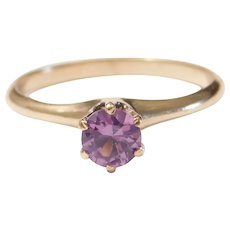 Vintage Created Alexandrite .63 Carat Solitaire Ring 10k Gold
