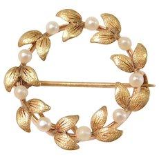 Vintage Seed Pearl Laurel Leaf Circle Pin / Pendant 14k Gold