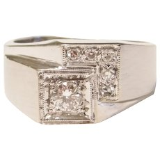Retro Diamond .28 ctw Gents Ring 14k White Gold