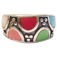 Colorful Gemstone Ring Sterling Silver