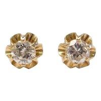 Vintage Diamond .46 ctw Buttercup Stud Earrings 18k Gold