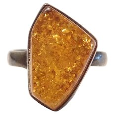 Vintage Baltic Honey Amber Ring Sterling Silver