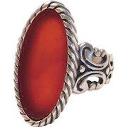 Ornate Carnelian Ring Sterling Silver