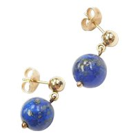 14k Gold Lapis Ball Drop Earrings