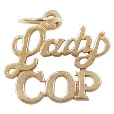 Vintage 14k Gold Lady Cop Charm ~ Police Officer