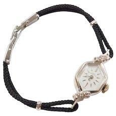 .09 ctw Diamond Lady Hamilton Swiss Watch 14k White Gold wtih Black Strap