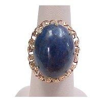 Vintage Lapis Lazuli 18k Gold Ring