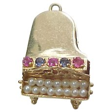 Vintage 14k Gold Large Grand Piano Charm with Ruby, Sapphire and Pearls